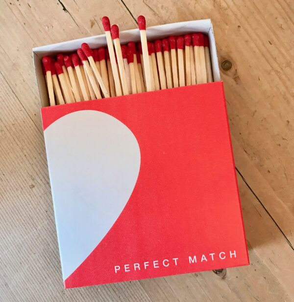 Box of letterpress printed luxury matches. Perfect Match design.