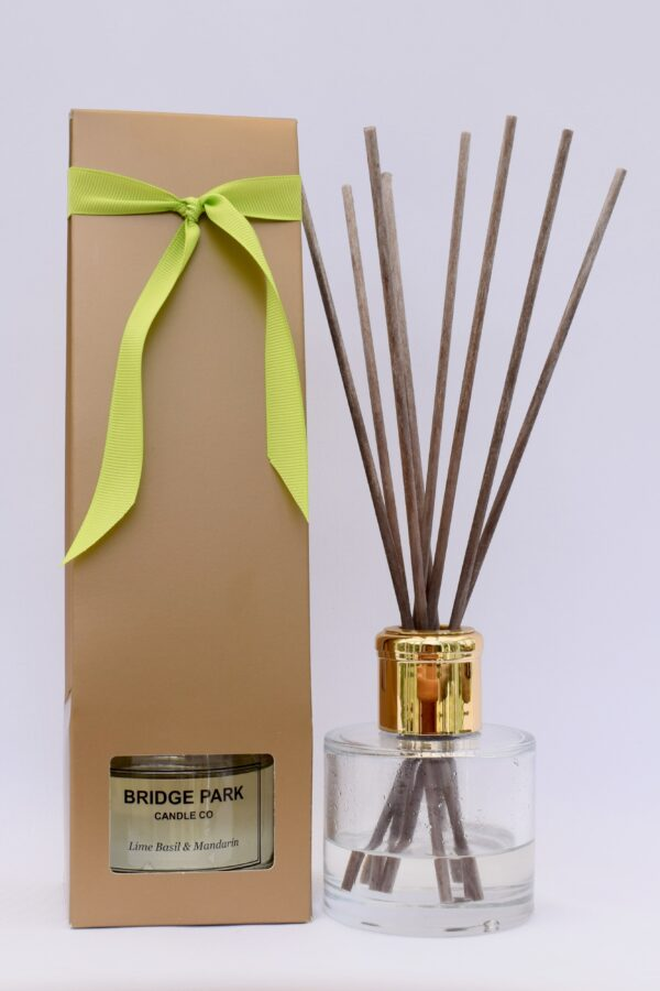 Bridge Park Candle Company Lime Basil & Mandarin Reed Diffuser and gold box with lime green ribbon